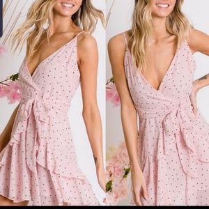 Ruffled pink dotted cami dress